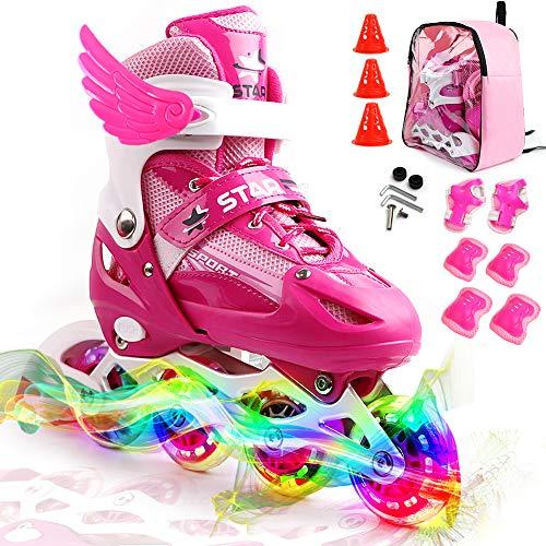 Gonex Inline Skates for Girls Boys Kids Adjustable Skates for Teens Women with Illuminating Light Up Wheels for Outdoor Skating
