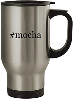 #mocha - 14oz Stainless Steel Hashtag Travel Coffee Mug, Silver