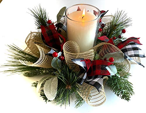 Christmas Table Centerpiece - Christmas Candle Wreath (Burlap/Pine)