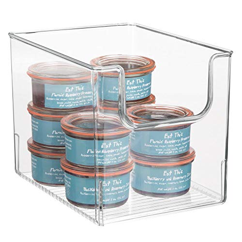 mDesign Aufbewahrungsbox für Lebensmittel – Küchen Ablage mit offener Vorderseite für Kühlschrank, Schrankfach oder Gefriertruhe – Kühlschrankbox aus BPA-freiem Kunststoff – durchsichtig