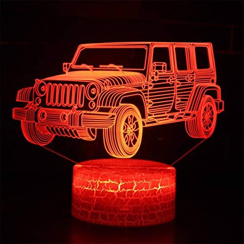 Jeep Illusion 3D Light/LED Night Light, 7 Changement de couleur, tactile/télécommande, Lumière Sculpture Art et USB Chambre câble bureau Bureau lumière décorative