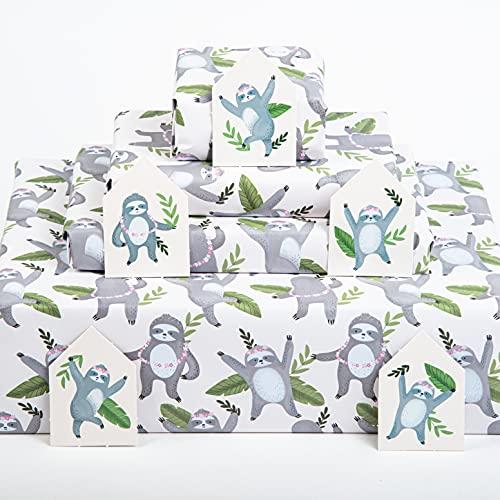 Central 23 - Papel de envolver perezoso - 6 hojas de papel de regalo - Papel de regalo divertido para hombres, niños, adolescentes, cumpleaños, fabricado en el Reino Unido, reciclable