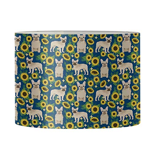 AFPANQZ Sunflower French Bulldog Print Lamp Shade UNO Cartoon Lampshade for Kids Room Living Room Decoration for Floor Lamp & Table Lamp Shades Drum Women Bedroom 13.4' x 8.1' Dark Blue Brown