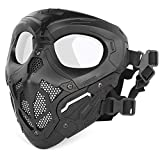 Huntvp táctica Máscara Skull Protectora Máscara Militar Paintball para Hombres Paintball Airsoft CS Cosplay Halloween, Tipo 2 Negro