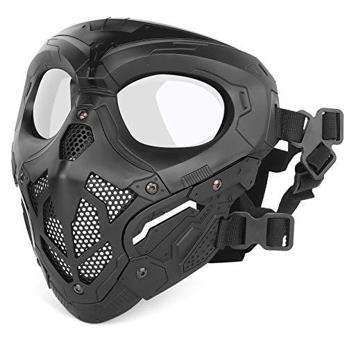 Huntvp Taktische Maske Schädelmaske Militär Schutzmaske Herren Gesichtsmaske Tactical Mask fürCS Cosplay HalloweenOutdoor, Typ-2 Schwarz