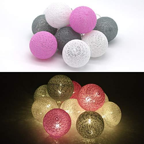 Tronje 10 LED Baumwollkugeln 6cm - 1,9m Kugel-Lichterkette 4h-Timer batteriebetrieben Lichterkugeln Pink-Grau