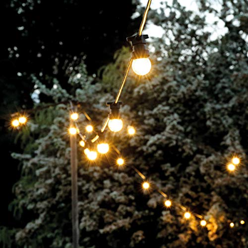 FestoonPro Connectable Outdoor Festoon Lights - E27 Starter Kit (20 Sockets Per 10 Meters)- Black Rubber Waterproof Cable - Replaceable Frosted Edison Bulbs (Warm White, 10m)