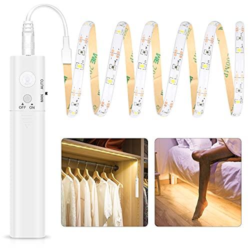 Tira Luz Cuerda 30LED 1M, Tira de Luces LED con Sensor de Movimiento, Luz Armario, Luz LED Nocturna Pilas, Decoración Iluminación para Dormitorios, Cocina, Escaleras, Baño, Pasillo,3000K Blanca Cálida
