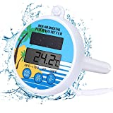 Bearbro Solarbetriebenes Pool Digitales Thermometer, Digitales Poolthermometer Solarbetriebenes Schwimmendes Thermometer Mit Max und Min Temperaturfunktion für Schwimmbäder Spas und Whirlpools