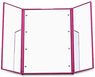 AINIYF Makeup Mirror Tri-Fold Lighted Heart-Shape Compact Pocket Makeup Mirror Lighted Makeup Mirror with 8 LED Lights (Color : Pink)