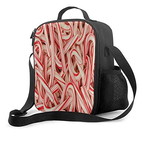Bolsa de almuerzo con aislamiento Wonderful Candy Cane Rojo y blanco Fiambrera abierta de par en par para trabajo, picnic, senderismo, playa, pesca, resistente al agua Bolsa de almuerzo a prueba de f