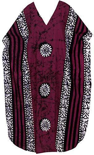 LA LEELA Mujeres Caftán Algodón túnica Batik Kimono Libre tamaño Largo Maxi Vestido de Fiesta para Loungewear Vacaciones Ropa de Dormir Playa Todos los días Cubrir Vestidos Granate_Y1