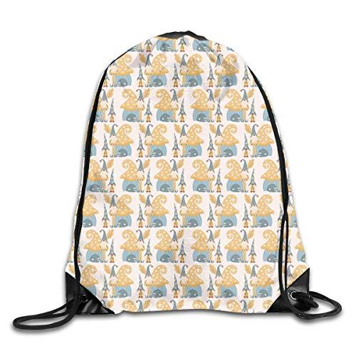 shenguang Gnomes and Cute House Mochila Deportiva con cordón Gimnasio Yoga Sackpack Bolsa de Cuerda Bolsa de Almacenamiento de Viaje para Mujeres y Hombres Adecuado para la Escuela Natación Correr