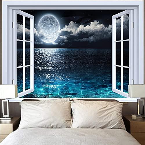 Tapiz de luna natural colgante de pared hippie playa bosque girasol cielo cielo estrellado ventana tapiz tela colgante A1 180x230cm