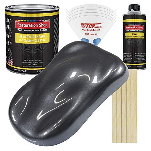 Restoration Shop - Gunmetal Grey Metallic Acrylic Enamel Auto Paint - Complete Gallon Paint Kit - Professional Single Stage High Gloss Automotive, Car, Truck, Equipment Coating, 8:1 Mix Ratio, 2.8 VOC
