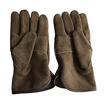 Genuine Leather Men's Welding Gloves Cut-proof Labor Gloves Thicken Extreme Heat Resistant Coffee Color Work Gloves Camping/Gardening Gloves DHST08