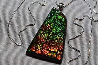 Ammolite Necklace, Large Ammolite Pendant, Sterling Silver 18