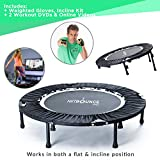 MaXimus HIIT Bounce PRO | Workout Trampoline For Adults | Folding Rebounder with Flat or Incline For Awesome Cardio & Tone Exercise Improving Agility | Includes DVDs for Fitness, Runners & Weight Loss