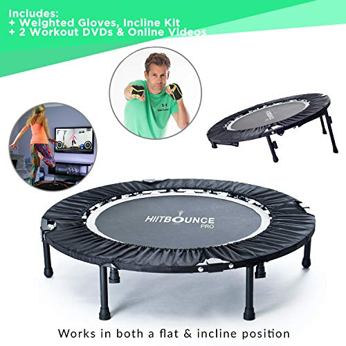 HIIT-BOUNCE-PRO-folding-Rebounder-Mini-Trampoline-for-Adults-Flat-or-Incline-Free-weighted-Gloves-4-Mega-Rebounding-DVDs-140kg-User-weight-Burn-Fat-Fast