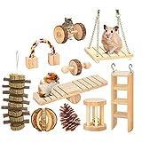 Huante - Juego de 10 juguetes para masticar hámster de madera natural, gerbos de ratas, chinchillas, juguetes, accesorios de mancuernas para ejercer, rodillo para el cuidado de los dientes molar, juguete para conejos de indias