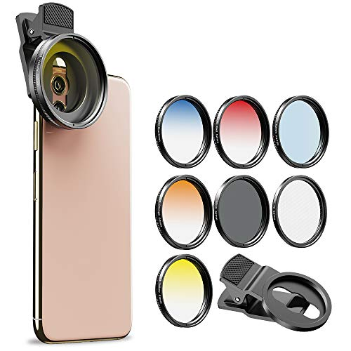 Apexel 52MM Clip-on Graduated Color Polarizer CPL Filters Kit-Professional Photography Cellphone Camera Lens Filters for iPhone Samsung Smartphone