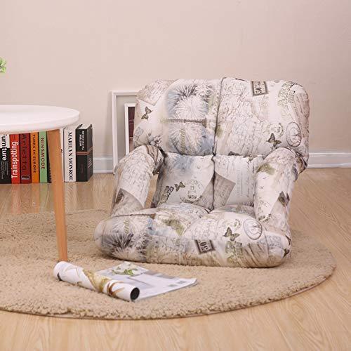 Floor Gaming Chair - Einfach Zusammenklappbare Lesestühle Für Erwachsene - Sitzgelegenheiten Für Meditation, Yoga Und Camping, Mit Faltbarer, Gepolsterter, Verstellbarer Rückenstütze,Weiß