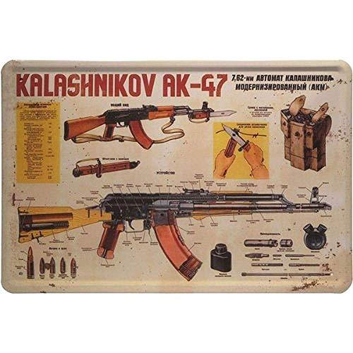 HONGXIN Ak 47 With War Weapon - Letrero de metal para decoración de casa, bar, pub, garaje, banda, cerveza, huevos, café, supermercado, granja, jardín, dormitorio