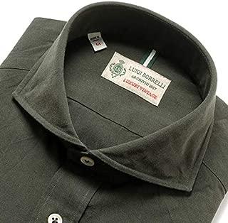 ルイジボレッリ ルイジボレリ LUIGI BORRELLI / 19-20AW!製品洗いコットンシャンブレーホリゾンタルカラーシャツ「NA35(8726)」 (ダークオリーブ) メンズ