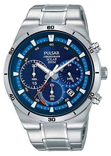 Pulsar Solar Herren-Uhr Chronograph Edelstahl mit Metallband PZ5035X1