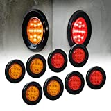 8pc 2.5' Amber + Red Round Trailer LED Clearance Marker Lights [DOT Approved] [Reflector Lens] [Grommet] [Flush-Mount] [Waterproof IP67] Marker Clearance Lights for Trailer Truck