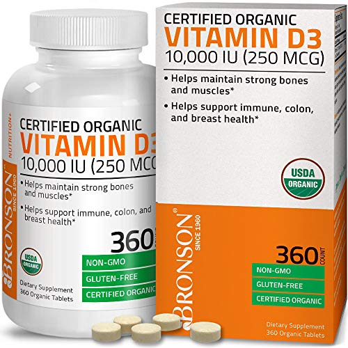 Bronson Vitamin D3 10,000 IU (250 mcg) 1 Year Supply for Immune Support, Healthy Muscle Function & Bone Health, High Potency Organic Non-GMO Vitamin D Supplement, 360 Tablets