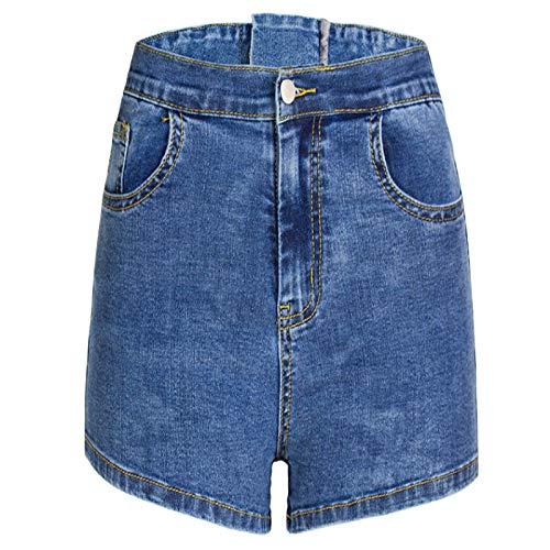 Corumly Pantalones Cortos de Mezclilla para Mujer Pantalones Cortos de Mezclilla de Cintura Alta de Temperamento Simple Europeo y Americano con Cintura y Caderas Pantalones Cortos para Adelgazar M