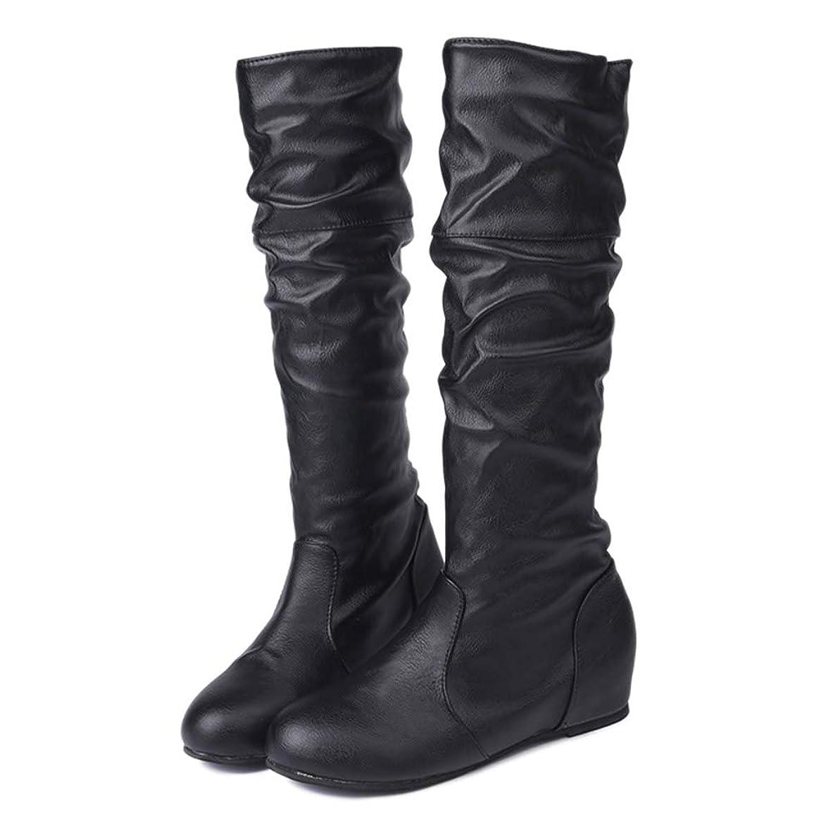 前書き視線療法[ファッション メーカ] ロングブーツ レディース 無地 インヒール 長靴 美脚 PU革 フェイクレザー カジュアル おしゃれ 歩きやすい 黒 大きいサイズ