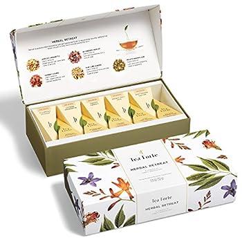 Tea Forte Herbal Retreat Petite Presentation Box Tea Sampler Assorted Variety Tea Box 10 Handcrafted Pyramid Tea Infusers Relaxing Herbal Tea