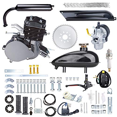 Yaheeda 80CC Bicycle Engine Kit,Motorized Upgrade Bike 2-Stroke Conversion Kit,DIY Petrol Gas Engine Bicycle Motor Kit Set for 26' and 28' Bikes (Black)