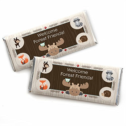 Woodland Creatures - Candy Bar Wrappers Baby Shower or Birthday Party Favors - Set of 24