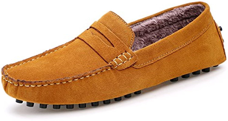 Men's fashion casual bean shoes, peas shoes add velvet, men lazy foot pedal bean shoes,yellow,Forty-five