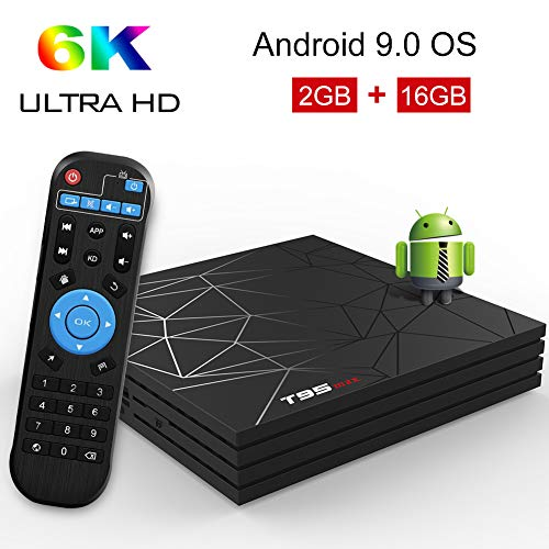 Android TV Box,T95 MAX Android 9.0 TV Box 2GB RAM/16GB ROM H6 Quad-Core Support 2.4Ghz WiFi 6K HDMI DLNA 3D Smart TV Box