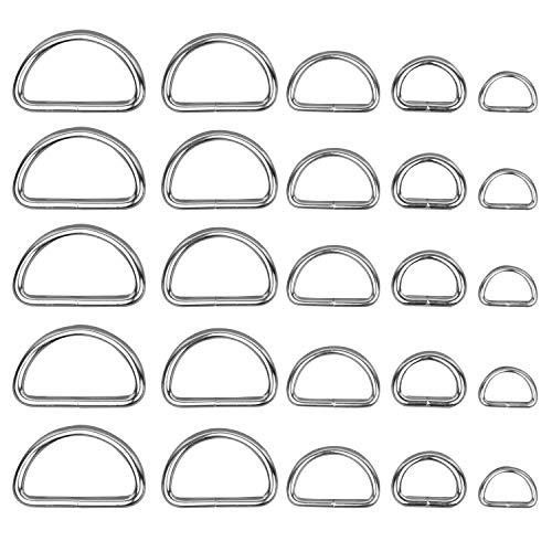 BELLE VOUS Metall D Ringe (120 Pcs) - Verschiedene D Ringe Vernickelt Halbringe Nicht Geschweißt - Anhänger Ring für Hundeleine, Halsband, Karabiner, Gurt, Rucksack, DIY Zubehör
