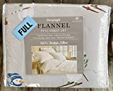 Snowman Skiing Scarf Flannel Sheet Set - Full Size Set (All Cotton Flannel)