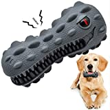Dog Toothbrush Chew Toy: Clean your Pets Teeth with this Dental Stick, Cleaning Brush Included, It's an Alligator Stick Toy for Dogs, Perfect Toys for Aggressive Chewers, Large, Medium and Small Breed