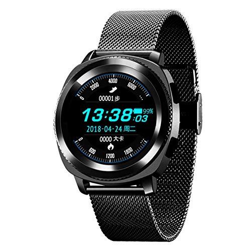 Mygsn Watch Fitness Tracker Wasserdichtes Schwimmen - Intelligente Runde Bildschirmuhr Wasserdichtes Multifunktions Sport Armband Anruf für Huawei - Apple - Erwachsene - Student Watch (Farbe : A)