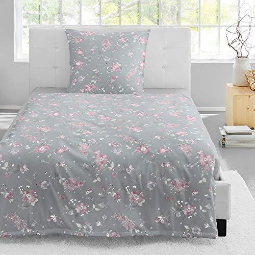 Irisette Jersey Bettwäsche Luna Sherbrooke grau 1 Bettbezug 135 x 200 cm + 1 Kissenbezug 80 x 80 cm
