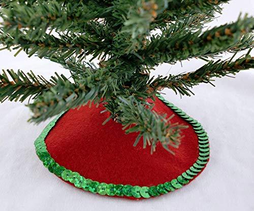 Neuf Maison De Poupées Noël Miniature Rouge Noël Tree Jupe