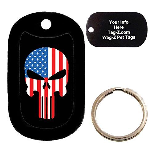 Custom Engraved Pet Tag - AMERICAN FLAG EVIL SKULL - Dog Tag - Tag-Z Wag-Z
