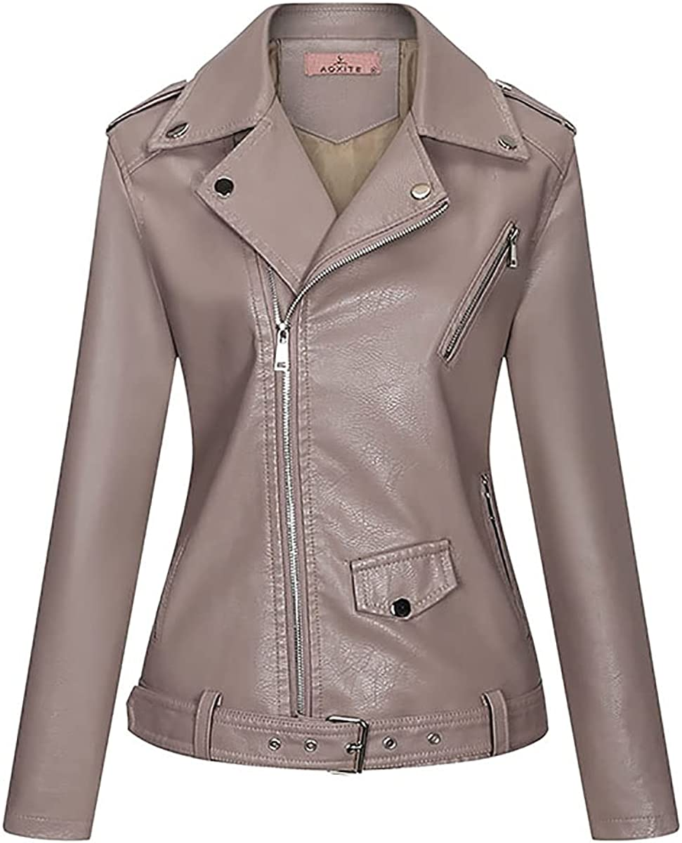 Women's Faux Leather Jacket Zip Up Slim Fit Leather Jackets Short Coat For Women Fall