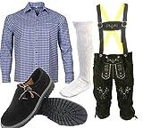 ALL THE GOOD S 2 Trachten set Oktoberfest (Hose +Hemd +Schuhe +Socken) Lederhose Trachtenhose Leder Hose Trachten (Hose 60 Hemd 46/47)