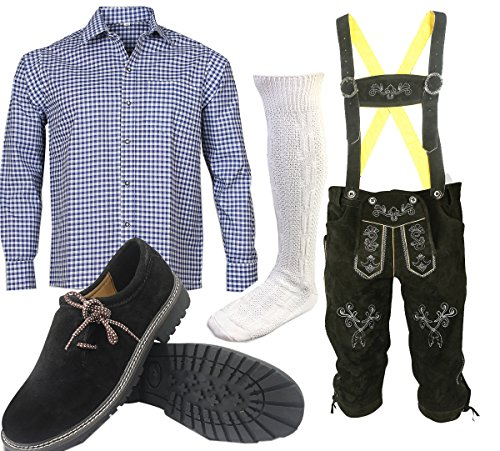 ALL THE GOOD S 2 Trachtenset (Hose +Hemd +Schuhe +Socken) Bayerische Lederhose Trachtenhose Oktoberfest Leder Hose Trachten (Hose 52 Hemd 42/43)