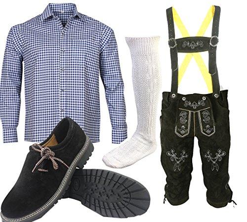 ALL THE GOOD S 2 Trachtenset (Hose +Hemd +Schuhe +Socken) Bayerische Lederhose Trachtenhose Oktoberfest Leder Hose Trachten (Hose 54 Hemd 42/43)