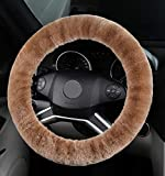 ANDALUS Car Steering Wheel Cover, Fluffy Pure Australia Sheepskin Wool, Universal 15 inch (Tan)